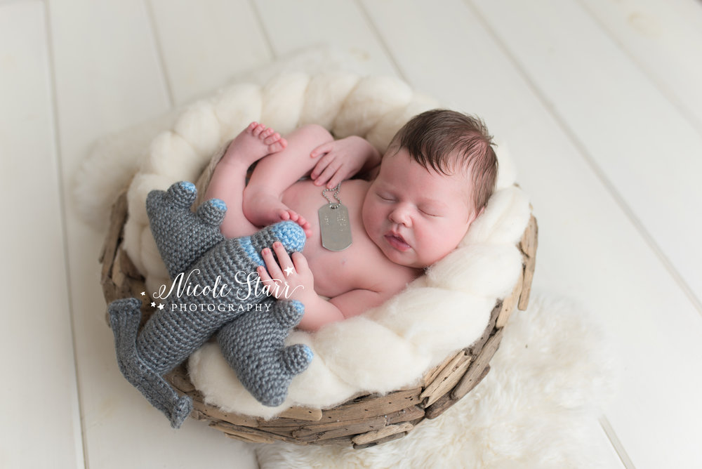 Newborn baby with airplane, newborn and pilot prop, newborn and aviator prop, Nicole Starr Photography