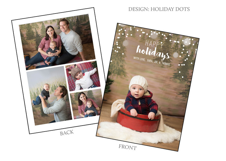 two sided sample holiday dotsjpg - Christmas Card Templates For Photographers