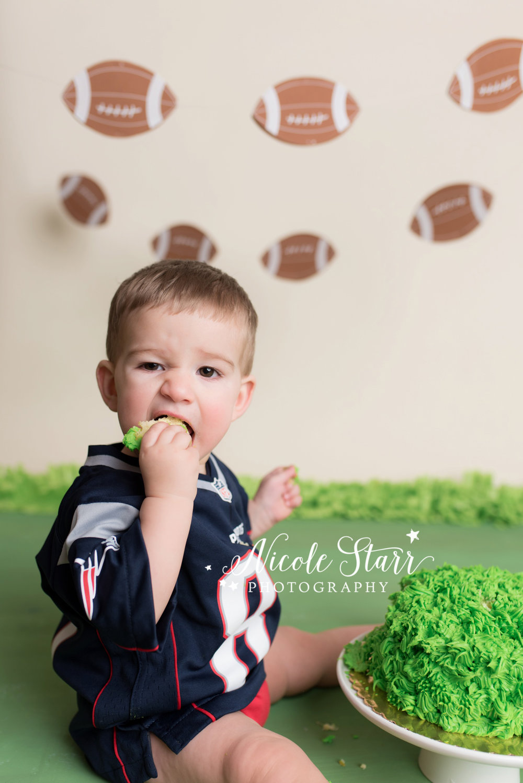 Nicole Starr Photography | Saratoga Springs Cake Smash Photographer | Boston Cake Smash Photographer | Saratoga Springs Family Photographer | Boston Family Photographer  |  Albany Cake Smash Photographer  |  Football cake smash  |  Patriots football birthday party