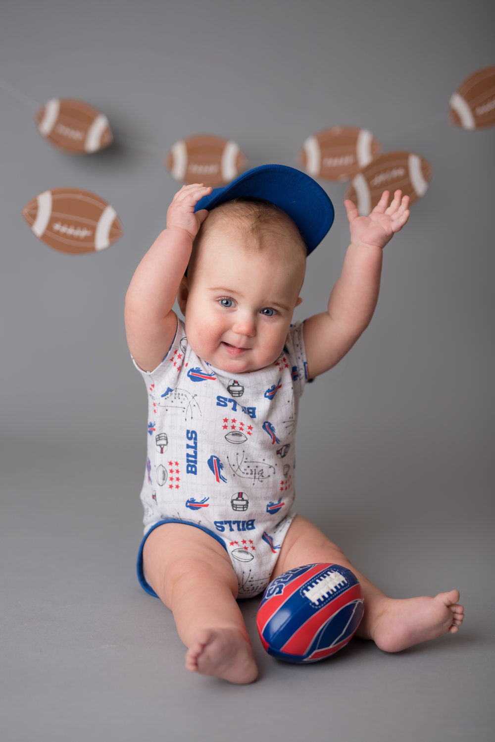 baby football photo shoot, super bowl photo backdrop, buffalo bills baby photographer