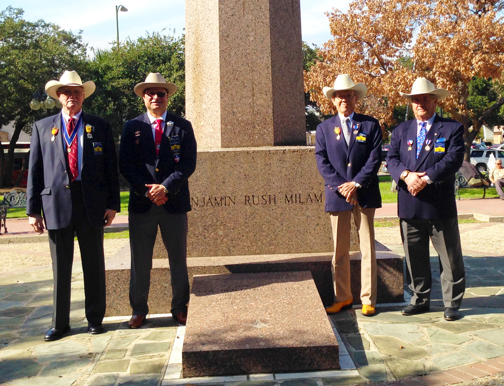 "Albert Gallatin, Jason Chall, Robert Fletcher   &   Al Davis   representing the Alamo Chapter pay tribute on Dec 5, 2015 to the life and passing of Ben Milam, hero of the Texas Revolution. Without Ben and his famous December 1835 "" Who will go with Old Ben Milam into San Antonio, there might not have been a Texas Republic. His leadership led to the tough fight and ultimate surrender of the Mexican garrison under General Cos at the cost of Ben's life. This was the Chapter's 7th Memorial to this hero of the Texas Revolution."