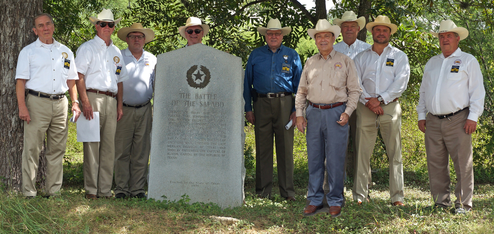 Members   Ed Heath, Ken Pfeiffer, Chris Lancaster, Jimmy Peet, Jim Massingill, George Harcourt, Dick Weitzel, Jason Chall,   and   Al Davis   (Norm Cooper not pictured) celebrate the 173rd anniversary of the Battle of Salado on September 17th. The battle caused the retreat of the Mexican army under Gen. Woll who's mission was to invade the Republic of Texas and bring in under Mexican rule. The was the last major invasion of Texas by Mexico. Several members also commemorated the Dawson Massacre at the marker a few miles away. Ed Heath and Ken Pfeiffer completed the commemorations on September 19th by attending the Texas Hero's Day event at Monument Hill in La Grange. This is where the remains of the Texians of Dawson's Command killed in 1842 are interred.
