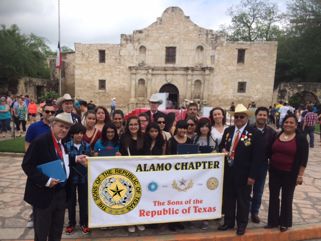 Al McCutcheon   (Admin. of Educational Events ),   Gilbert Garcia, Tommie Wood  , and   Hector Pacheco   pose     April 18th with the Alamo Chapter Essay Contest winners at Alamo Plaza. To date over 21,000 middle school students have participated in this Alamo Chapter program.