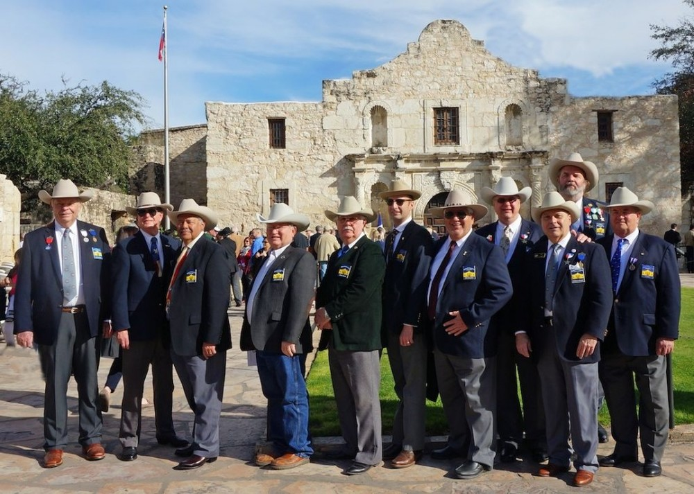 Dick Weitzel, Ken Pfeiffer, Hector Pacheco, Gary Humphreys, John Hinnant, Brian Shajari, Hank Ortega, Jimmy Peet, George Harcourt, Jeff Payne   and   Al Davis   at the Alamo Cannon event.  A bronze cannon believed to have seen service in the Alamo during the famous battle of 1836 moved a step closer to authentication with a dedication ceremony held in front of the Shrine of Texas Liberty on January 24 by the San Jacinto Battleground Conservancy (SJBC). The cannon has been on permanent loan to the Alamo from the conservancy since 2010. A lone bagpiper signaled the start of the event, which drew attendance of around 200.