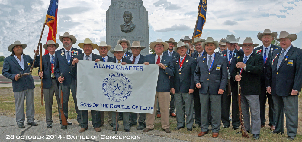 "The Alamo Chapter gathers for the 6th time to honor The Battle of Concepción which was fought on October 28, 1835, between Mexican troops under Colonel Domingo Ugartechea and Texian insurgents led by James Bowie and James Fannin. The 30-minute engagement which has been described as ""the first major engagement of the Texas Revolution"", occurred on the grounds of Mission Concepción, 2 miles south of what is now Downtown San Antonio in the U.S. state of Texas."