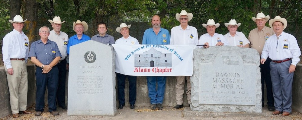 In 2014 the Alamo Chapter inaugurated the Memorial of the 1842 Dawson Massacre at the marker off Austin Highway. Members at the event were   Ken Pfeiffer, Eldon Cagle, Tommie Wood, Norm Cooper   and his grandson,   Ed Heath, Jeff Payne, Marvin Roemer, Al Davis, Johnny Brannan, Dick Weitzel  , and   George Harcourt  .  The Dawson massacre, also called the Dawson expedition, was an incident in which 36 Texian militiamen were killed by Mexican soldiers on September 17, 1842 near San Antonio de Bexar (now the U.S. city of San Antonio, Texas). The event occurred during the Battle of Salado Creek, which ended with a Texan victory. This was among numerous armed conflicts over the area between the Rio Grande and Nueces rivers, which the Republic of Texas tried to control after achieving independence in 1836.