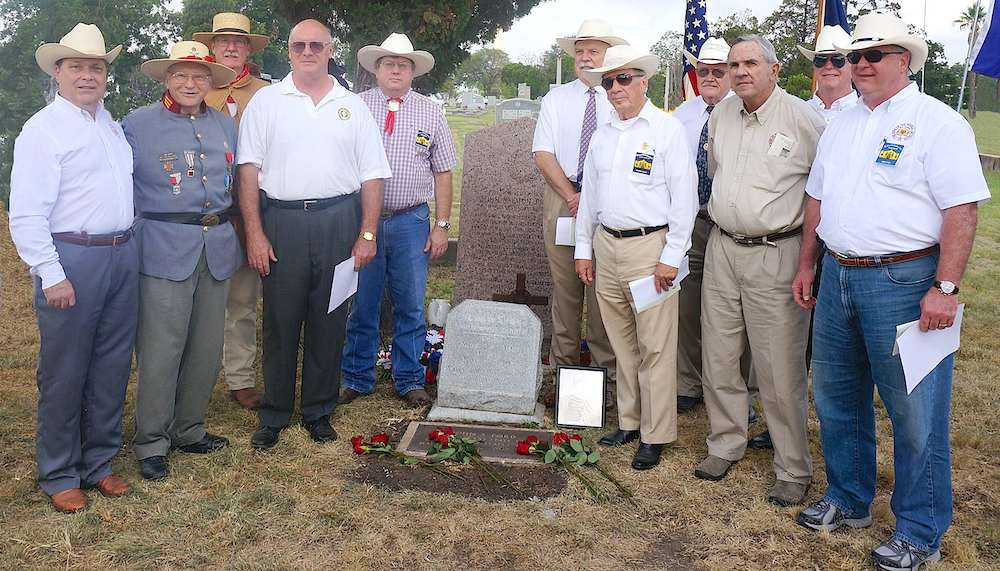George Harcourt, Joe Ginn   (PPG),   John Knox, Robert Kendall   (President General),   Chris Lancaster, Joe Weathersby, Ed Heath, Johnny Brannan, Al McCutcheon, Ken Pfeiffer,   and   Jimmy Peet   commemorate the placing of a Ranger Cross at RIP Fords grave August 9, 2014 at the historic Confederate Cemetery in San Antonio.