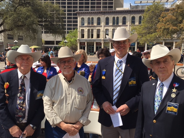Historian    Robert Bohnfalk  ,  Membership Chairman    Tom Jones   &  2nd VP General  Ed Heath   celebrate Texas Independence Day at Alamo Plaza