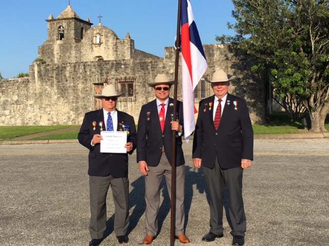 Sgt-at-Arms & Flags 400 Committee Chairman   Al Davis  ,  1st VP   Jason Chall  , &  Chapter   President Dick Weitzel  pose in front of  Presidio La Bahía  on   Easter Sunday. ( not pictured   Ken Pfeiffer   )