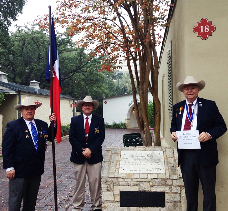 Sgt-at-Arms & Flags 400 Chairman   Al Davis  ,   Christopher Lancaster   &  Chapter President  Dick Weitzel   take a moment to pose in La Villita in downtown San Antonio. They are hoisting flags to honor the men who fought & died during the Battle of Bejar . The siege was the longest campaign of the Texas Revolution & it was the only major Texian success other than San Jacinto.