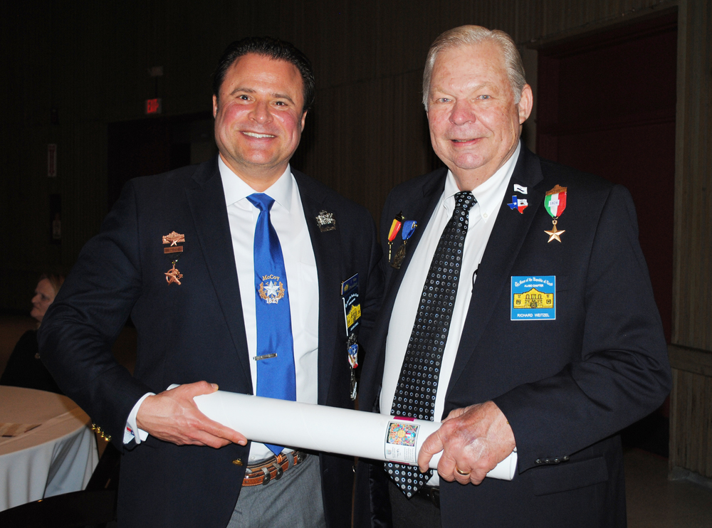 Alamo Chapter  1st VP  Jason Chall   &  President    Dick Weitzel   receive a Fiesta 2016 poster from The State Association of Texas Pioneers in recognition of the Chapter's support for The Ball over the years.