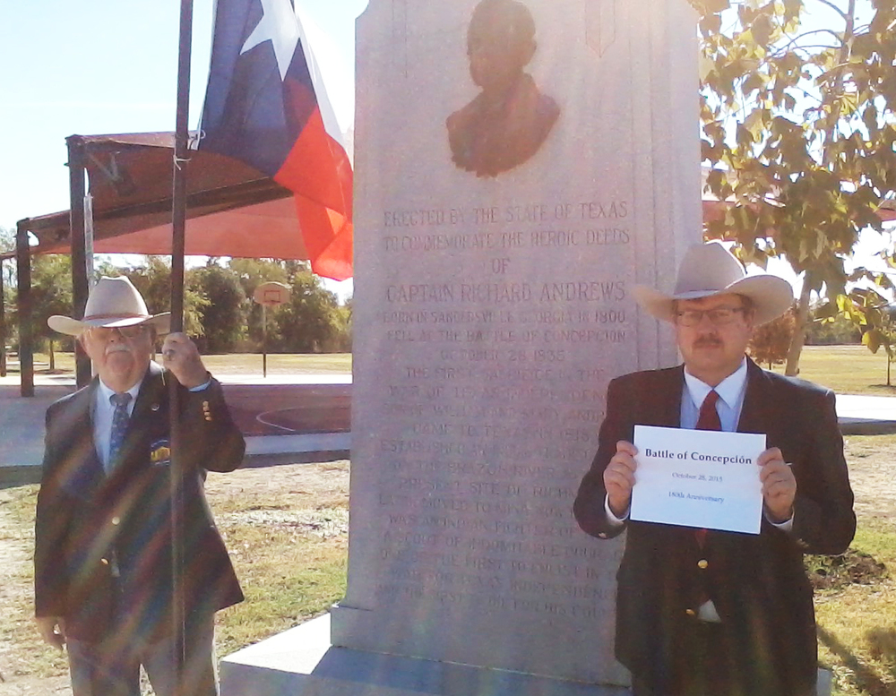 Alamo Chapter member   John Hinnant   &  Historian    Christopher Lancaster   raise 400 flags at the site of the Battle of Concepción, the second stop on the Flags 400 Tour.