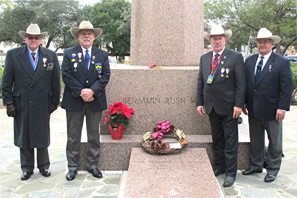 "President    Jim Massingill  ,  1st VP    Joe Weathersby  ,  Chaplain    Russ Ives  , &  Al Davis  represent the Alamo Chapter & pay tribute on Dec 7th, 2015 to the life and passing of Ben Milam, hero of the Texas Revolution. Without Ben and his famous December 1835 "" Who will go with Old Ben Milam into San Antonio, there might not have been a Texas Republic. His leadership led the tough fight and ultimate surrender of the Mexican garrison under General Cos at the cost of Ben's life. This was the Chapter's 5th Memorial to this hero of the Texas Revolution."