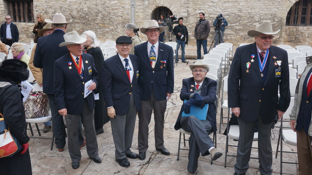 Alamo Chapter members   Ed Heath  ,   Bob Benavides  ,   Ken Pfeiffer  ,   Al McCutcheon   &  President    Jim Massingill   attend the DRT celebration of Texas Independence in front of the cenotaph, March 2nd, 2013.