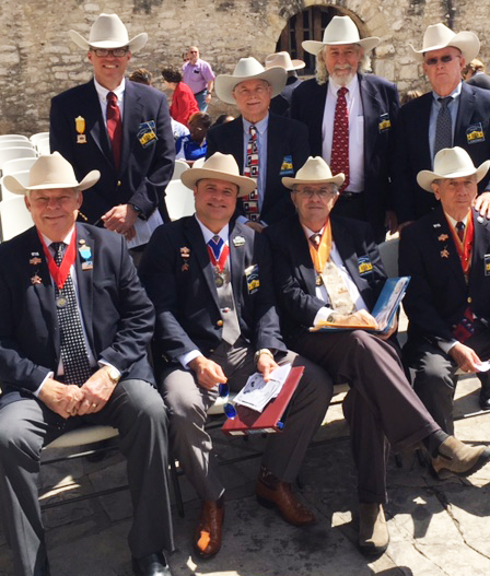 Marketing Officer  Richard Weitzel  ,  2nd VP  Tom Jones  ,  President    Jason Chall  ,  Historian    Robert Bohmfalk  ,  Admin. of Educational Events    Al McCutcheon  ,   Rusty Bugsby  , &  1st VP General  Ed Heath   gather in Alamo Plaza to celebrate Texas Independence Day.