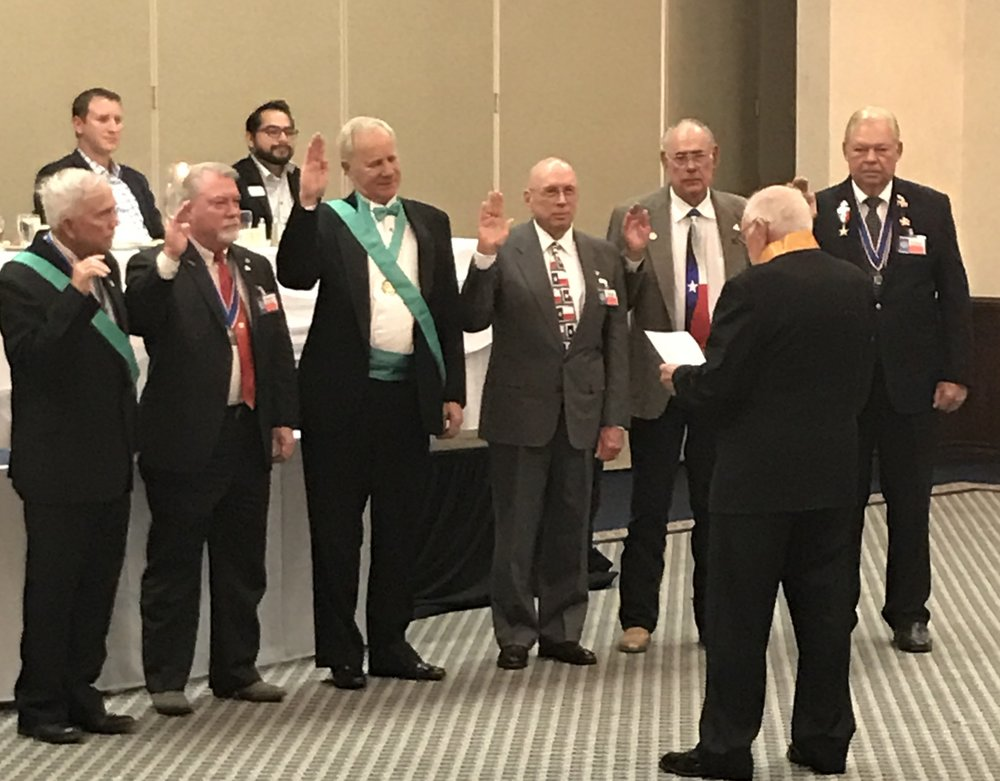 Alamo Chapter  Marketing Officer  &  Past President    Dick Weitzel   ( far right ) gets swore in as the new  Heart of Texas District Representative  of The Sons of Republic of Texas at the National Meeting. Congratulations Dick!