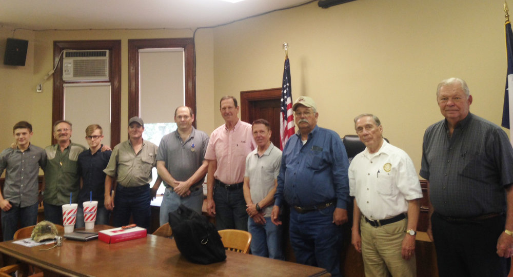 "From left to right:   Braxton Steen, Rick Steen, Brayden Steen, Kirk Lubbock, Eric Chester   (Gonzales Chapter Registrar),   Judge David Bird   (Gonzales Chapter President),   Richard Crozier   (already a Gonzales Chapter member),   Kenneth Fink, Edward Heath   (SRT 1st Vice President General), and   Dick Weitzel   (SRT ""Heart of Texas"" District Representative)"