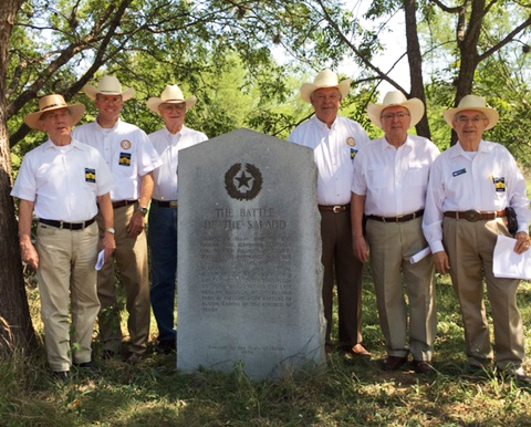 1st Vice President General    Ed Heath  , Chapter  2nd VP    Tom Jones  , founder   Albert Gallatin  ,  Marketing Officer    Dick Weitze  l, member   Paul Vielmas ,   Admin. for Historical Events    Bob Benavides    &    Secretary General    Ken Pfeiffer   ( not pictured )     gather to commemorate  The Battle of Salado Creek,  the engagement that halted the Texas invasion of the Mexican army under Gen. Woll. The General's sole mission was to invade the Republic of Texas and bring it back under Mexican rule at all cost. The was the last major invasion of Texas by Mexico. Several members also pay tribute to the Dawson Massacre at the marker a few miles away.  The Dawson Massacre was a second engagement occurring at the same time as The Battle of Salado Creek.  The Mexican Army's use of cannon was no match for Capt. Dawson & his men from Fayette County, 36 of his 54 manned Company were killed. Many years later after the battle, the remains of the men killed at The Dawson Massacre, were re-interred in a common tomb in a cement vault, on a bluff, one mile south of La Grange, TX.