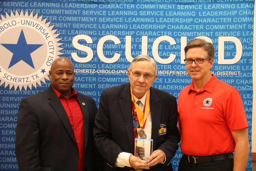 On May 14th, Alamo Chapter SRT  Administrator of Education    Al McCutcheon   is inducted into the SCUCISD  Hall of Honor  at the Schertz Civic Center Ballroom, Schertz, TX.  Mr. McCutcheon  was nominated by school administrator Rebecca Williams for his hard work & unwavering dedication to the Alamo Chapter's education program. Only 100 individuals have been enshrined into the Hall since 1994, a very rare honor! The Alamo Chapter education program has reached over 25,000 students since its conception &  Al  has been at the forefront from the beginning. Congratulations  Al  from all of us at the Alamo Chapter, we are very proud!