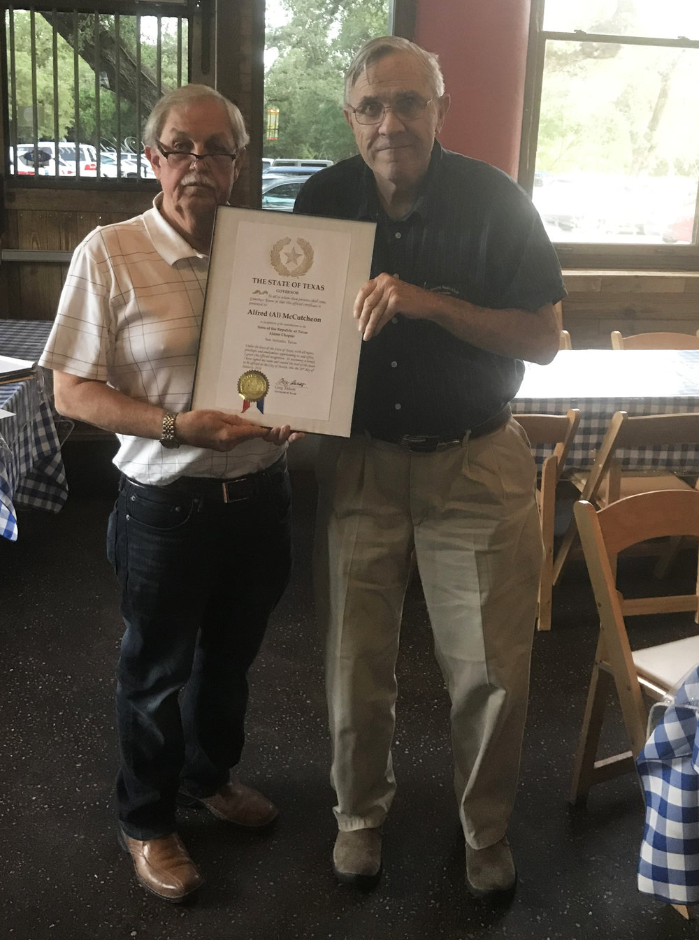 Chapter Secretary    Eldon Cagle   presents  Administrator of Education    Al McCutcheon   with a certificate of appreciation from  Texas   Gov. Greg Abbott,  for his efforts with the Alamo Chapter's education program.  Eldon  solicited the certificate & submitted all the paperwork for the application in  Mr. McCutcheon's  name. Great job guys!