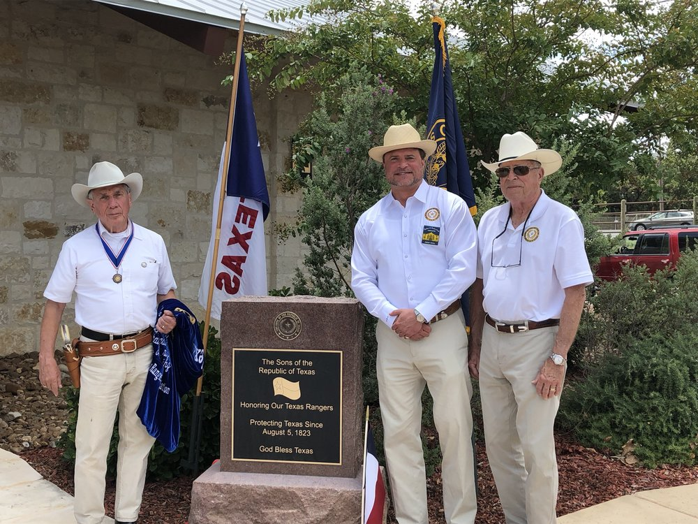 President General    Ed Heath  ,  Alamo Chapter President    Jason Chall   &  Treasurer    George Chall   were on hand for the unveiling of the The Sons of The Republic of Texas: Texas Ranger Plaque, honoring the brave lawmen who volunteered their lives protecting families along the frontier.