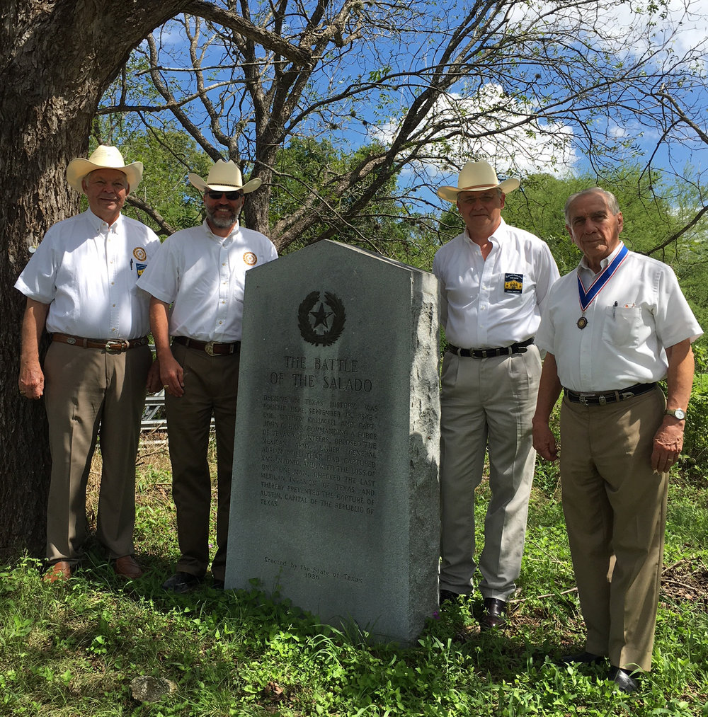Heart of Texas District Rep.    Dick Weitzel,   Chapter  2nd VP    Tom Jones,  1st Vice President  John Meehan  ,  SRT President-General    Ed Health   &  2nd VP- General  Ken Pfeiffer   ( not pictured )     gather to commemorate  The Battle of Salado Creek,  the engagement that halted the Texas invasion of the Mexican army under Gen. Woll. The General's sole mission was to invade the Republic of Texas and bring it back under Mexican rule at all cost. The was the last major invasion of Texas by Mexico. Several members also pay tribute to the Dawson Massacre at the marker a few miles away. The Dawson Massacre was a second engagement occurring at the same time as The Battle of Salado Creek. The Mexican Army's use of cannon was no match for Capt. Dawson & his men from Fayette County, 36 of his 54 manned Company were killed. Many years later after the battle, the remains of the men killed at The Dawson Massacre, were re-interred in a common tomb in a cement vault, on a bluff, one mile south of La Grange, TX.