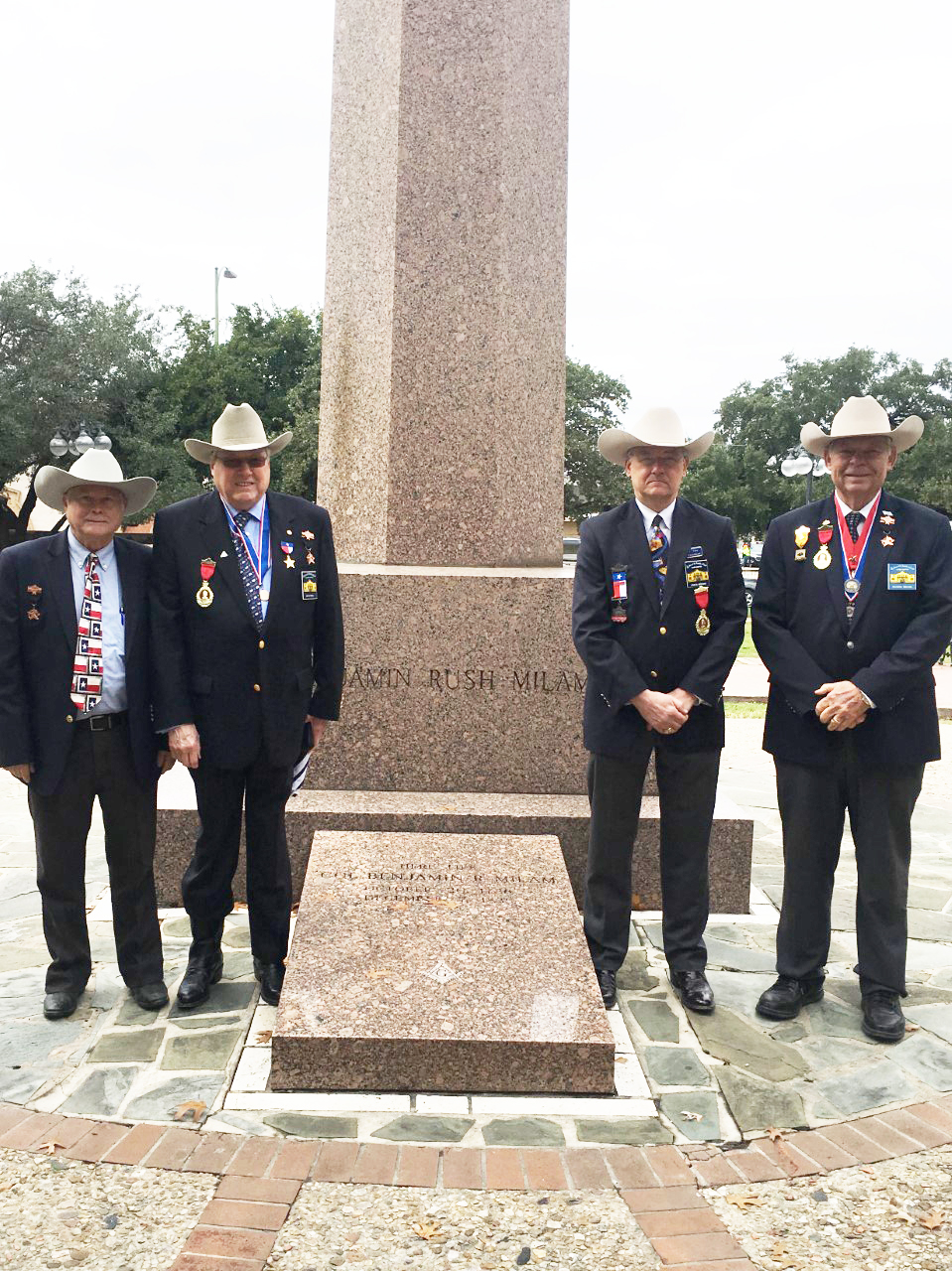 "Historian  Robert Bohmfalk,  Past President  Jim Massingill,  1st VP  John Meehan,  Marketing Officer  Richard Weitzel,   &  2nd Vice President General    Ken Pfeiffer   ( not pictured ) represent the Alamo Chapter & pay tribute on Dec 8, 2018 to the life and passing of Ben Milam, hero of the Texas Revolution. Without Ben and his famous December 1835 "" Who will go with Old Ben Milam into San Antonio "", there might not have been a Texas Republic. His leadership led to the tough fight and ultimate surrender of the Mexican garrison under General Cos at the cost of Ben's life. This was the Chapter's 10th Memorial to this hero of the Texas Revolution."