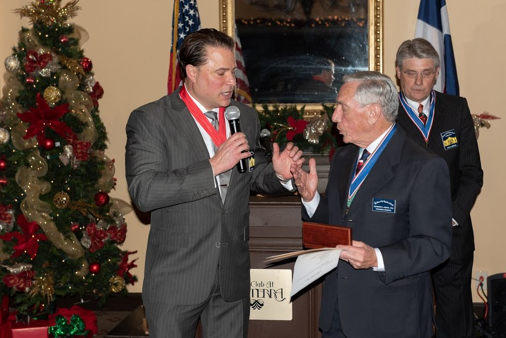 Past President    Jason Chall   presents  President General    Ed Heath   with an engraved pen crafted by   Al Davis  . Ed is the first member of out chapter to reach the highest position in the SRT, President General, we are very proud to have Ed in the Alamo Chapter.