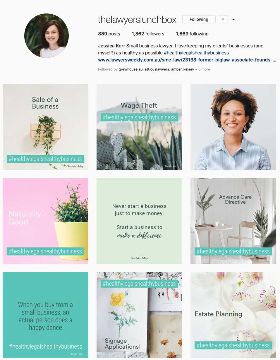 Small-business lawyer Jess Kerr from  Sinclair + May  is using Instagram to share knowledge and personalise her brand