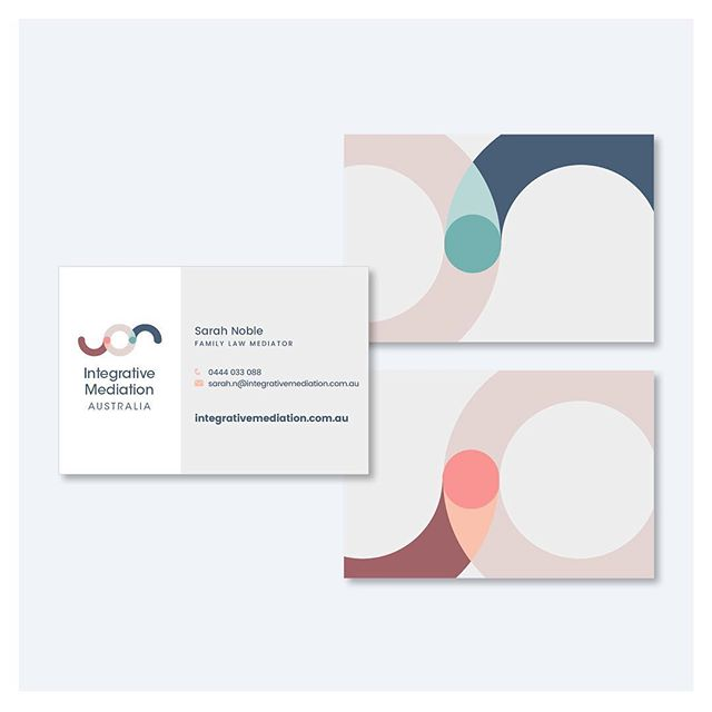 Work in progress: the one who got away!⠀ ⠀ A wonderful new client of mine Integrative Mediation Australia have just signed off on their new brand identity. And this wasn't it!⠀ ⠀ Client Sarah loved the colours and the back of the business cards, but in the end another concept that resonated more won the day.⠀ ⠀ What's Integrative Mediation you ask? It's a dynamic new concept that has the potential to change the experience of separation and divorce in a truly life-changing way. Sarah, a family law mediator, has teamed up with two counsellors with deep experience working with individuals who have experienced separation. As a team they offer a holistic process that counsels and coaches each individual through every step of the mediation process. It provides a real pathway towards acceptance and healing, and a much better foundation that families will have as they adjust to their new situations. So many families will benefit from this approach, and it's a privilege to be part of their communications strategy process. #watchthisspace