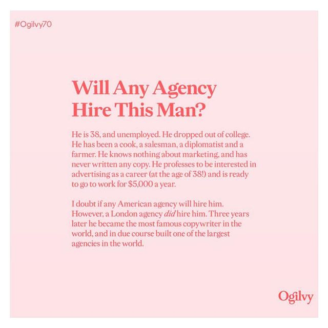 It's never too late...⠀ ⠀ What would you do if you got to 38 and wanted to fulfill your heart's desire?⠀ ⠀ I loved this post from @ogilvy of their fearless founder David Ogilvy.⠀ ⠀ Maybe it's because I turned 38 myself last week. Or maybe it's because it reminds me of my own career pivot, this time five years ago, when I left a corporate brand job and came full circle back to my roots as a graphic designer? ⠀ ⠀ Thing is, it's never, ever too late. So go on then, what would you do - at any age - if you knew you could not fail? ⠀ ⠀ FYI - I'd be an architect! 📐🏠