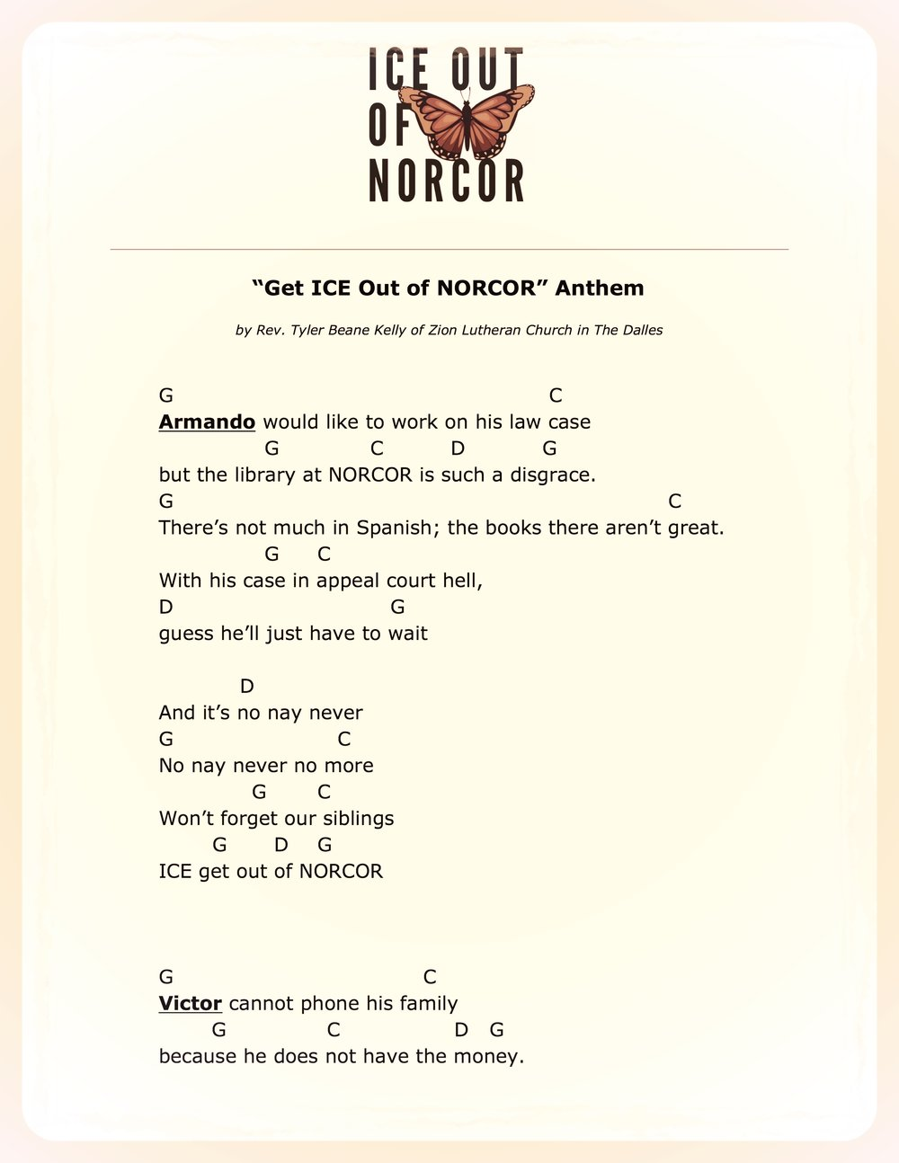 Get ICE Out of NORCOR Anthem (lyrics and chords)