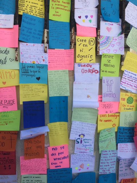 Notes of encouragement posted on a wall at El Barretal - the largest of the migrant shelters in Tijuana, run by the Mexican military.