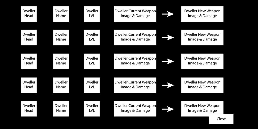 A rough wireframe of the potential Weapon Upgrade menu.