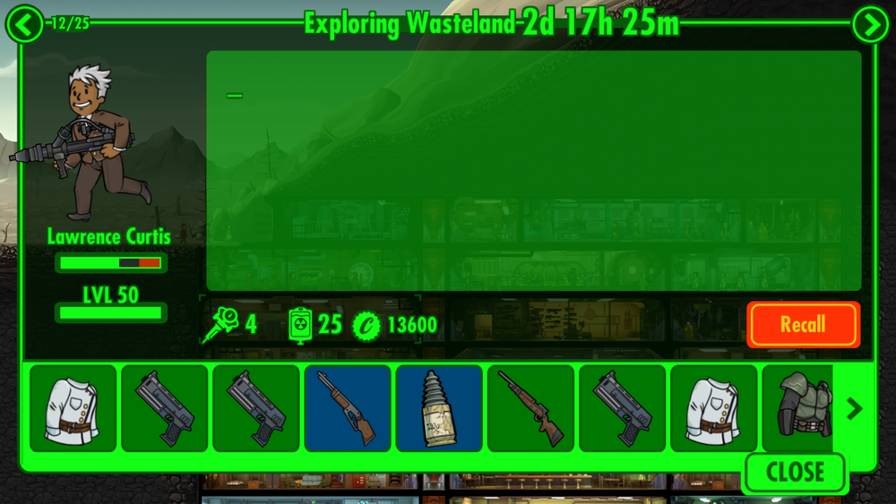 At the time of taking screenshots, the Dweller above was my explorer with the lowest Stimpak count; if you look towards the upper left of the image, you can see he's explorer 12 of 25, so I had to tap through 11 other explorers just to get to him, and then tap through more to find out I didn't have to worry yet because he was the one with the fewest Stimpaks. The menu is already organized so it displays the exploring Dwellers first and the recalled ones last, so it really shouldn't be difficult to add this additional layer of organization.