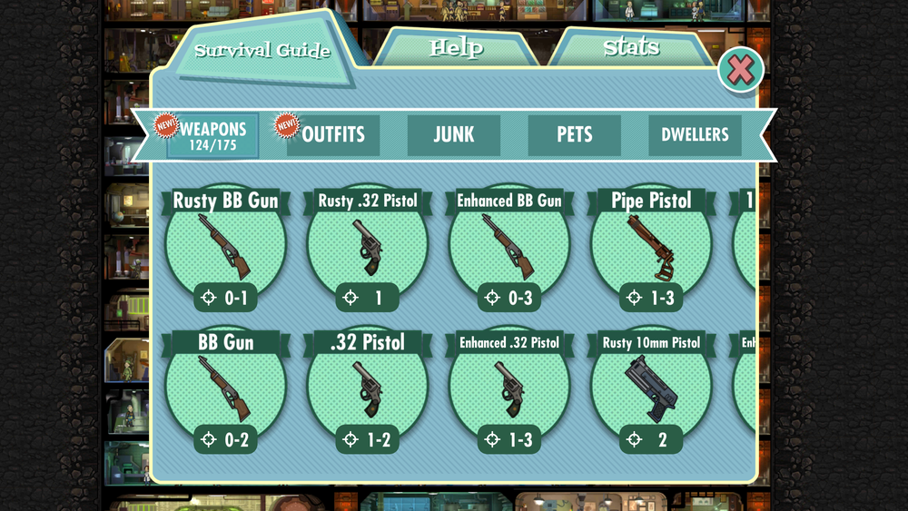 This is how the Survival Guide looks when you first open it; see how both the Weapons and the Outfits sub-tabs show that there are new pins in there, but to see the new items you have to swipe to the right, which takes quite awhile given you can only see 8 items at a time and there are 175 total for the Weapons alone.