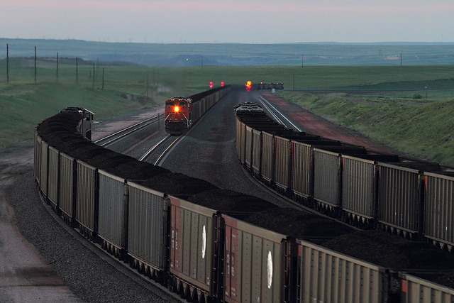 Coal trains operated by BNSF. (Credit: Mike Danneman)