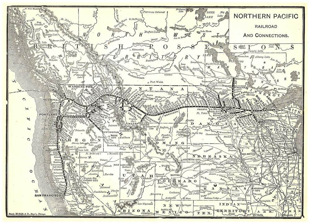A map showing the route chosen for the Transcontinental Railroad which displaced many Native nations. (Credit:  Pam Reitsch )