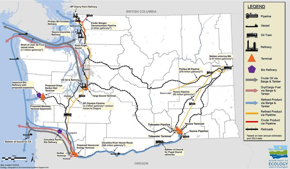 Map showing the production and movement of crude oil in and out of Washington State (Credit: Washington Department of Ecology).