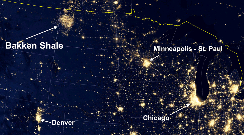 Since fracking began in 2005, flaring is adding to light pollution, this image highlights what the Bakken basin looks like from space. There is so much flaring that it looks like a city the size of Seattle, in an area with no large cities at all (Credit: Sky Truth).