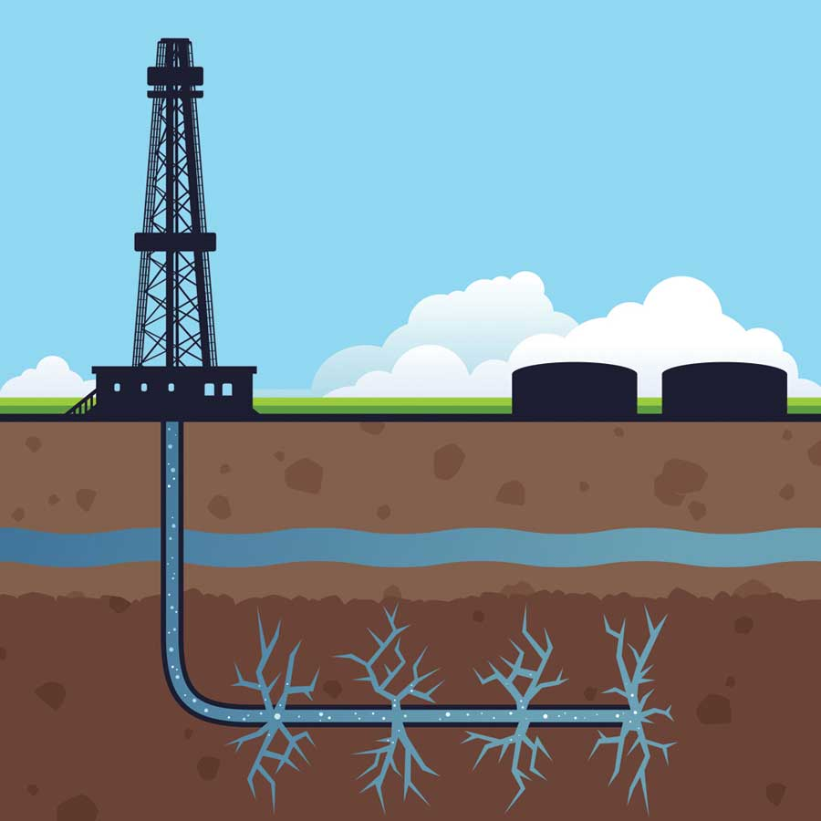 An illustration of hydraulic fracturing (Credit: Fotolia/Filo)