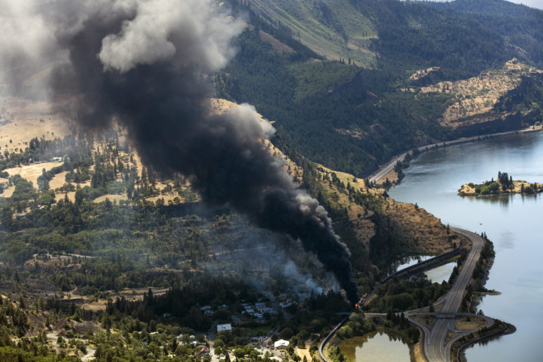 Mosier Derailment. (Credit:  Columbia Riverkeeper )