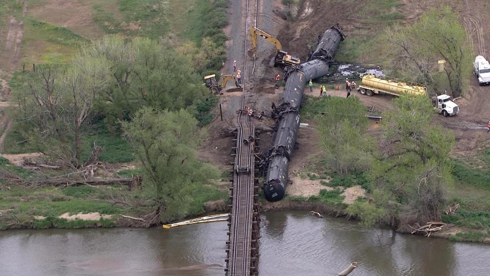 LaSalle, Colorado train derailment. (Credit: CBS Denver)
