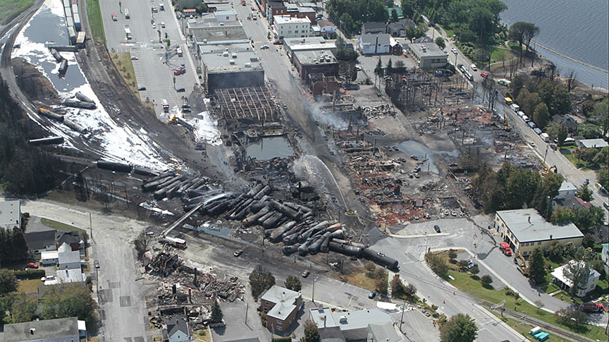 The Lac-Mégantic derailment site following the accident. (Credit:  Transportation Safety Board of Canada )