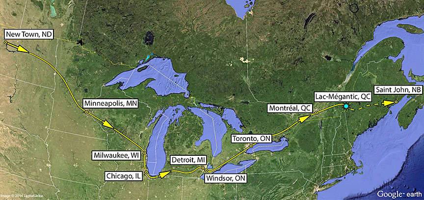 Approximate route of the tank cars on MMA-002, which travelled through Toronto and Montréal en route to Lac-Mégantic.  (Credit:   Transportation Safety Board of Canada  )