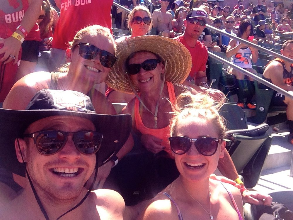 KMack, Cas and Us at Carson CrossFit Games 2015 : Few tequila's down watching the best throwdown.