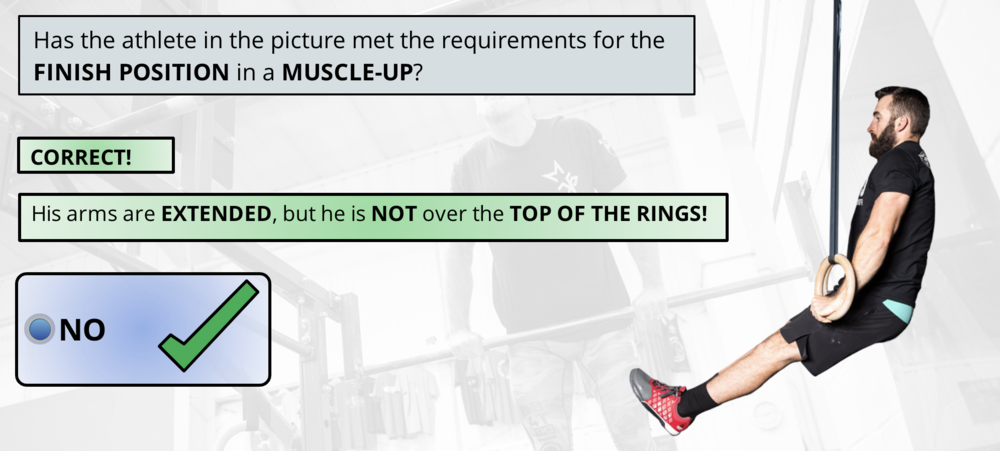 This is a NO REP, athlete must extend FULLY over the rings.