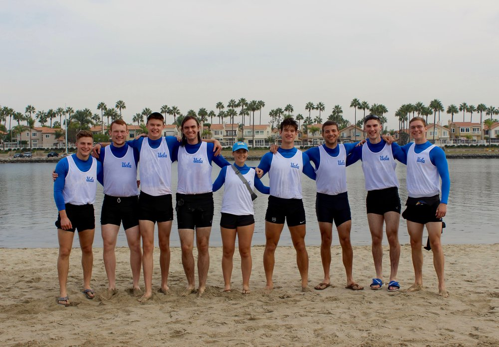 Brother Zak Myers (3rd from left), UCLA Rowing