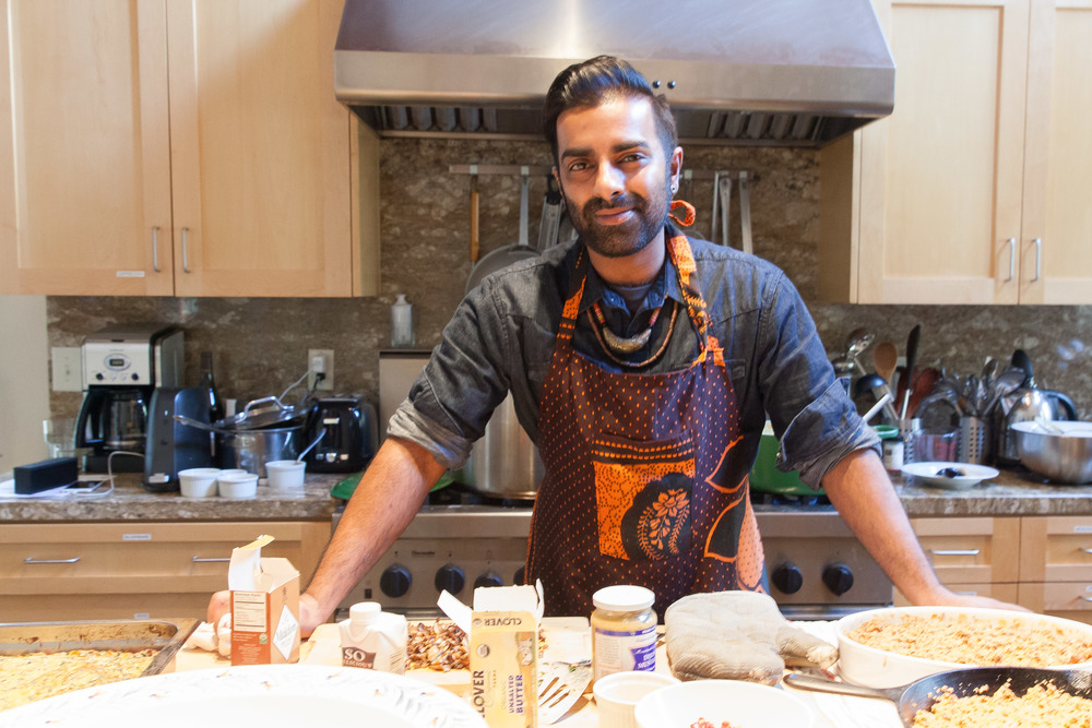 Saqib In the kitchen during a residency at the Montalvo Artist Center.