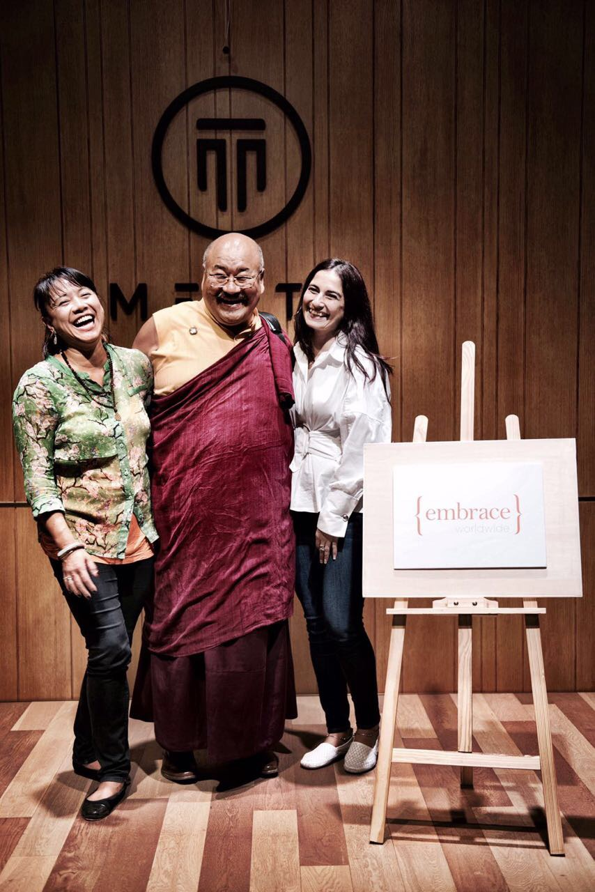 May 2017, Hong Kong. Khenpo Lungtaen Gyatso with Karen See and Sharn Bedi, co-founders of {embrace} worldwide.